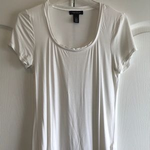 WHBM White Scoop Neck Tee Short Sleeves S Small